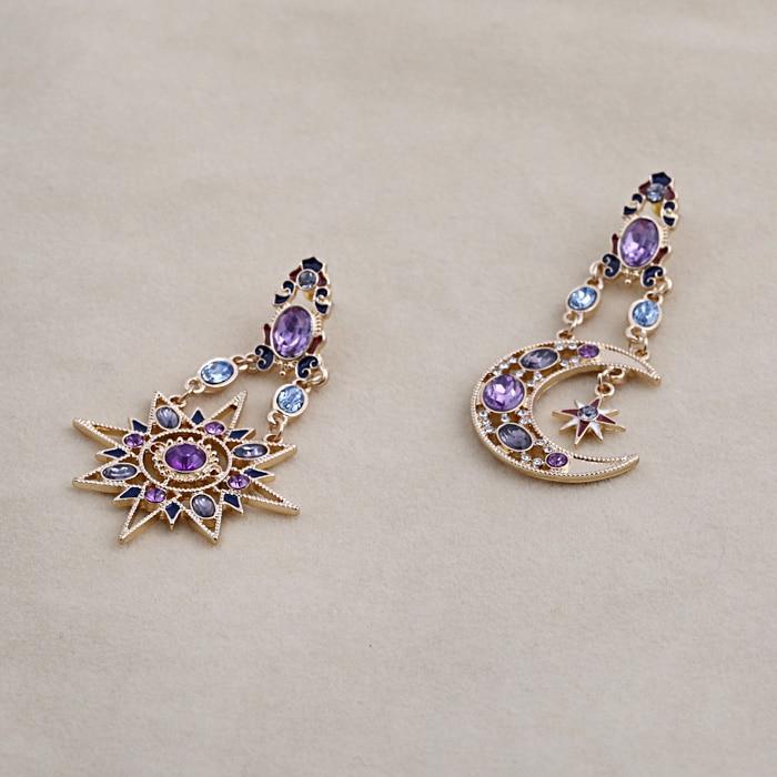 SHUANGR New Earrings Statement Drops Gem Bohemian Sun Moon Shiny Crystal Earrings Jewelry For Women Wholesale brincos grandes