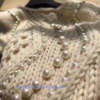 Женские свитера и пуловеры, элегантные женские свитера, удивительные украсить жемчугом вязаный свитер, зима теплая одежда Тянуть Роковой