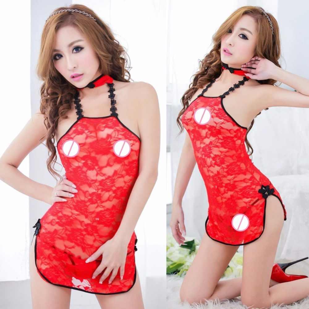 1caa8a7501a Chinese Style Women Sexy Lace Babydoll Underwear Lingerie Cheongsam  Sleepwear Nightdress Robe Chemsie Sex Uniforms with