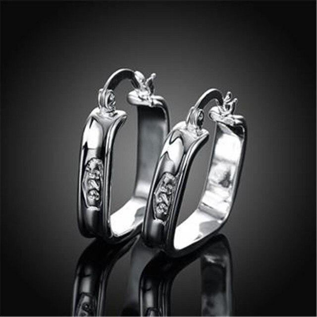 Us 3 59 Fashion 925 Sterling Zilveren Vierkante Patroon Vrouwen Oorringen Vrouwen Vrouwelijke Oor Sieraden Bruiloft Cadeau Niet Allergisch In