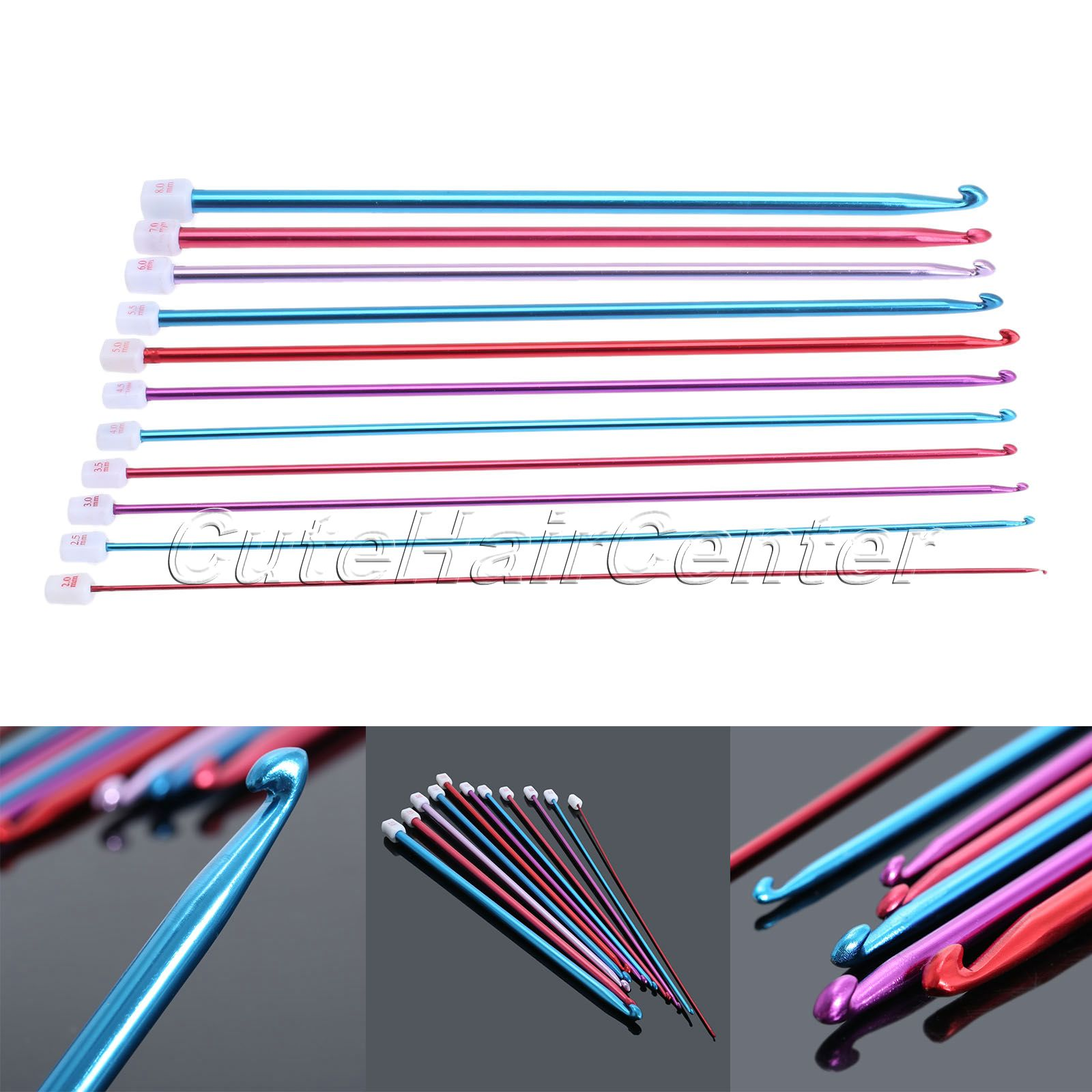 ⊹11 unids/set multicolor aluminio crochet Hook Knitting Agujas ...
