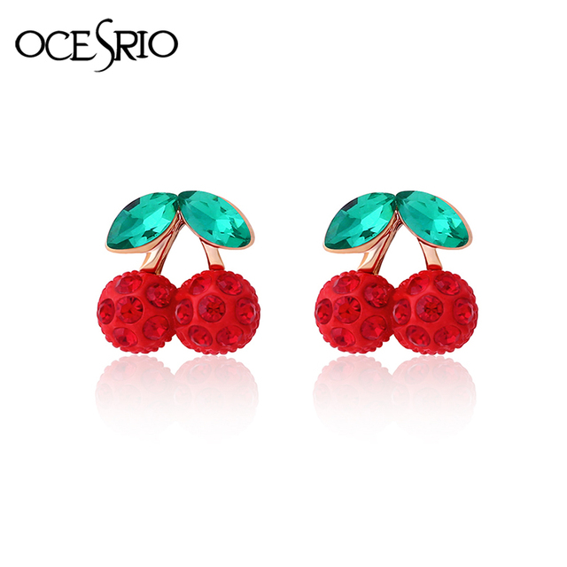 Ocesrio Cute Red Cherry Earrings Jewelry Crystal Kids Gold Clip No Pierced Ear Fashion