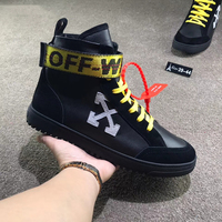 Mens off white black genuine leather high top arrows sneakers vapormax male off x white arrow high top shoes with zip ties