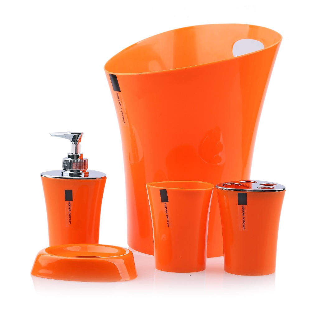 Plastic bathroom sets - 5pcs Bathroom Set Soap Dispenser Soap Dish Toothbrush Holder Tumbler Waste Bin