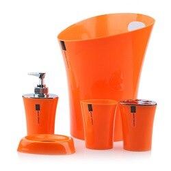 Meltset 5pcs Bathroom Set Soap Dispenser+Soap Dish+Toothbrush Holder+Tumbler+Waste Bin Plastic Bathroom Accessories Set