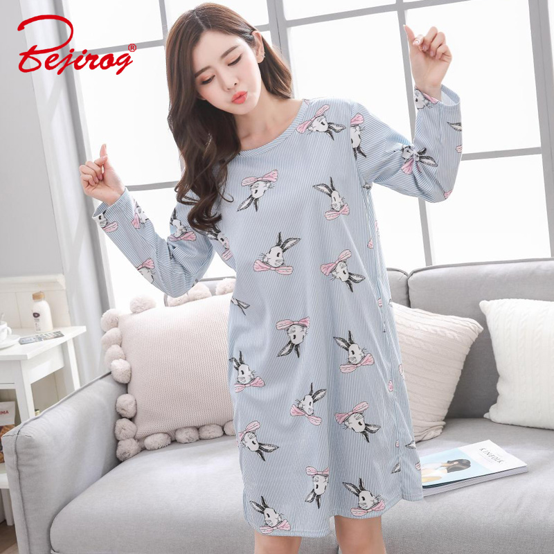 Bejirog nightwear 2018 long sleeved women plus size   Nightgown   female   sleepshirts   milk silk girls sleepwear sleep clothing autumn
