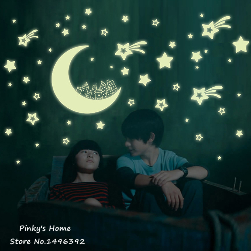 Glow In The Dark Stars World Moon Luminous Fluorescent PVC Children Stickers Kid Stickers DIY Stationery Sticker