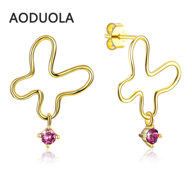 925 Sterling Silver Earring Gold Color Stud Erfly With Pink Crystal Earrings Pins For Women