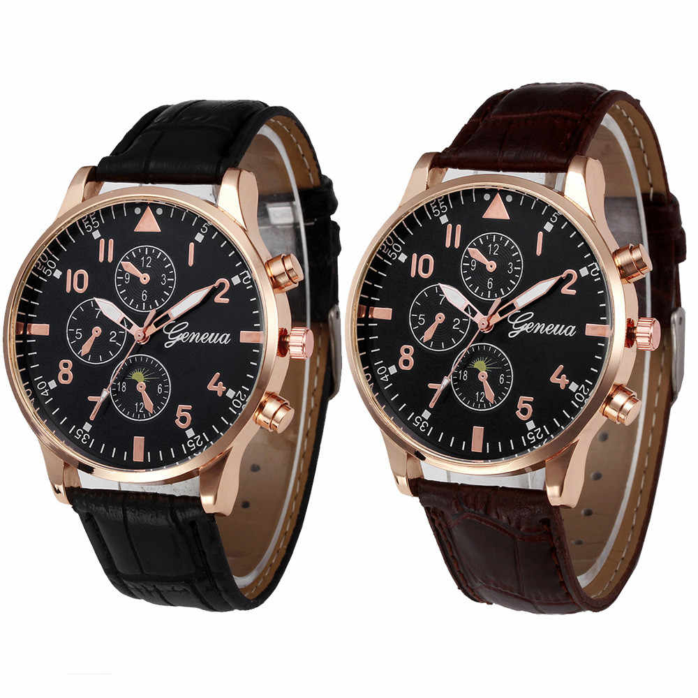xiniu Retro Design Men Business Watches Three Eyes PU Leather Band Analog Alloy Quartz Wrist Watch relogios femininos Clock