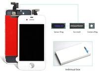 10 pcs Para o iphone 4 4S LCD Touch Screen Digitador Assembléia Black & White Color Display LCD (anel câmera + malha de ouvido + sensor de anel)