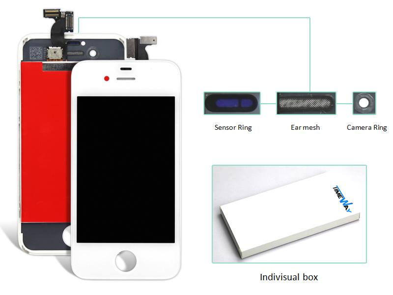 Prix pour 2 pcs pour iphone 4 4s lcd écran tactile digitizer assemblée noir et blanc couleur lcd affichage (caméra anneau + oreille mesh + capteur anneau)