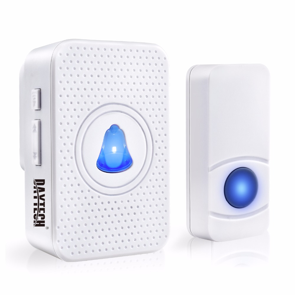 DAYTECH Wireless Doorbell 55 Ringtones IP55 Waterproof Push Button LED Indicator 0-110dB Chime Ring Door Bell DB05
