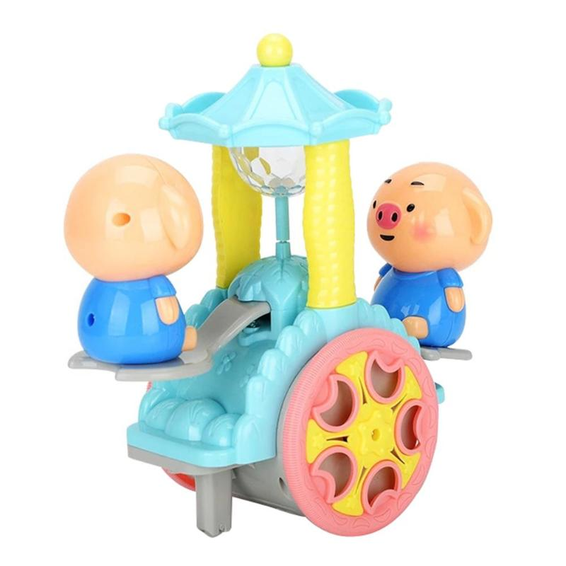 Baby Cute Pig Revolve Electric Car Vehicle Toys Baby Infant Rotate Music Light Kids Training Intellectual Toy children gift