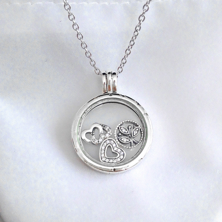 Medium Floating Locket With Crystal Glass pandora Necklace (Include chain 60CM ) with 100% 925 Sterling Silver Jewelry