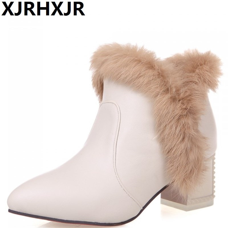 XJRHXJR Large Size 34-43 Women Thick High Heel Ankle Boots Fashion Pointed Toe Fur Boots Ladies Snow Boots Winter Warm Shoes 12 led square rain shower head wall mounted shower arm w shower hose top over shower sprayer