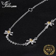 JewelryPalace 925 Sterling Silver Bracelets Flowers Created Orange Sapphire Ankle Bracelets Adjustable Chain Jewelry for Girls jewelrypalace elegant 2 43ct created alexandrite sapphire cubic zirconia halo adjustable bracelets for women 925 sterling silver