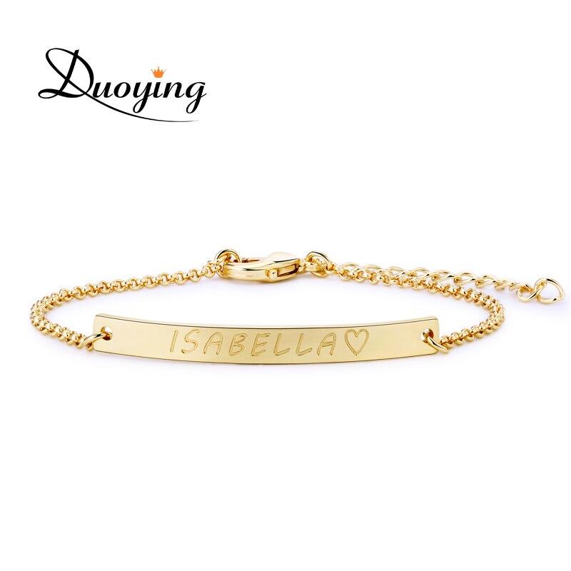 DUOYING pulsera personalizada para las mujeres personalizado grabado pulseras de cadena de oro enlace Bar pulsera regalo para Día de Navidad