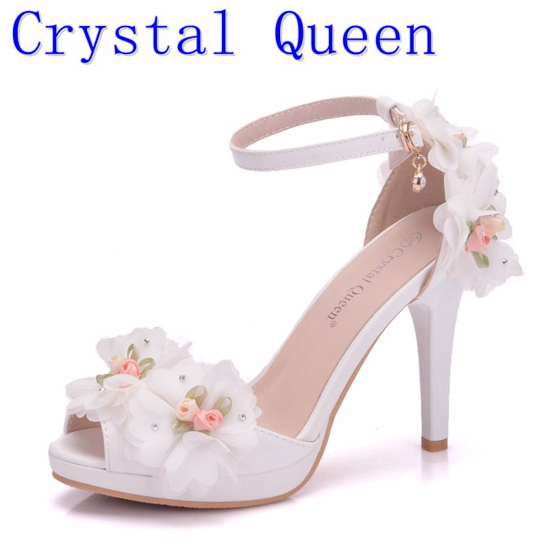 Crystal Queen Women Bride Shoes Toe High-heeled Butterfly Wedding Shoes  Lace Flowers Wristbands Summer 7bc924dedf17