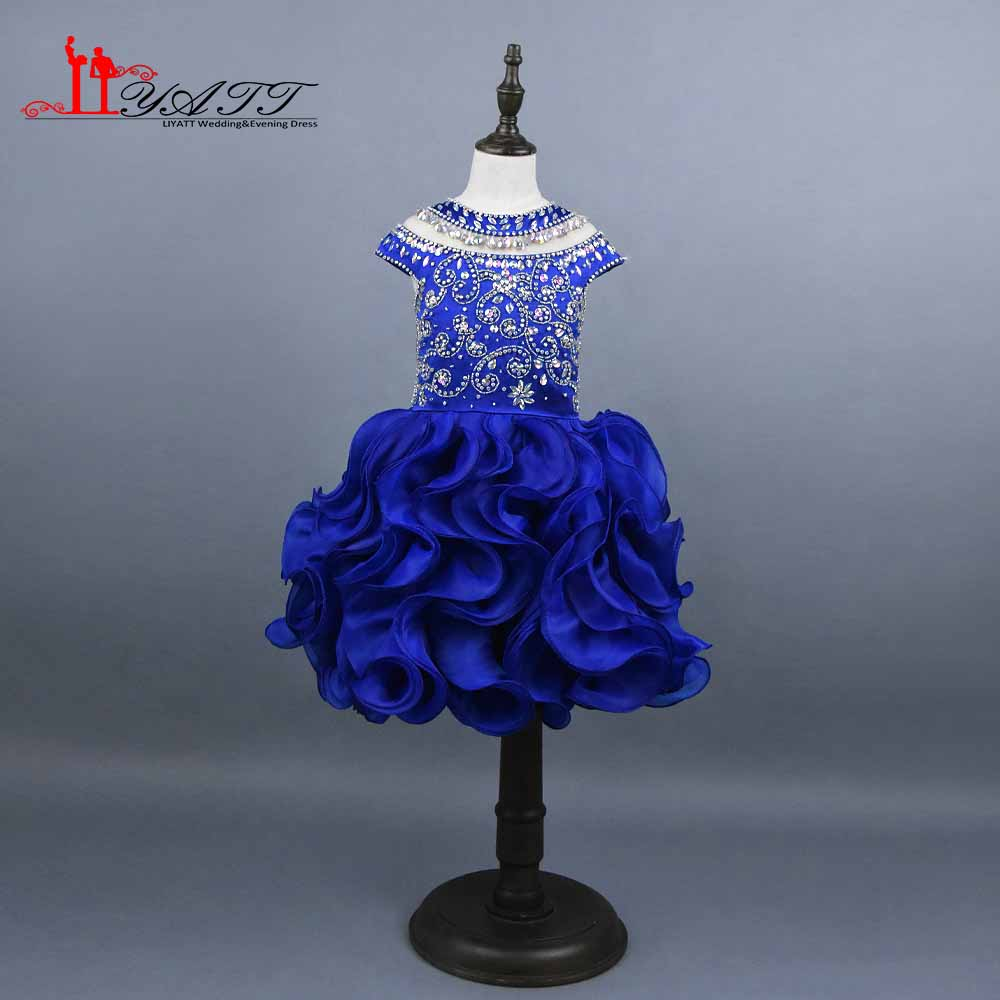 Cute Blue Mother Daughter Gowns Little Girls Evening Gowns Ruffles Tulle Pageant Dresses For Girls Glitz Communion Dresse LIYATT