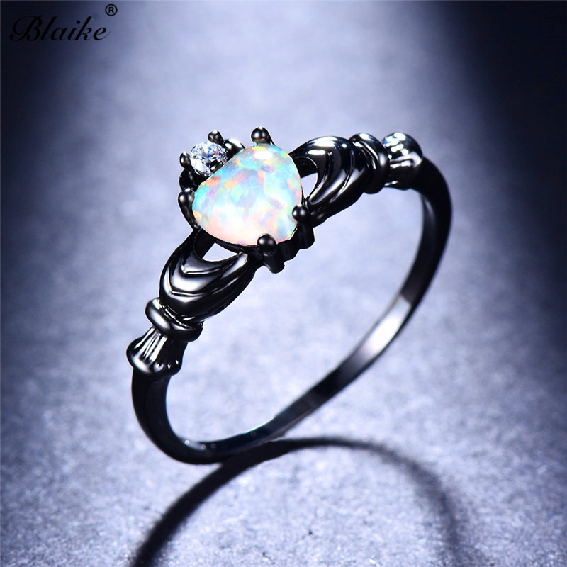 Blaike Charming White Heart Fire Opal Claddagh Ring For Women Vintage Black Gold Filled Finger Jewelry Promise Birthstone Ring