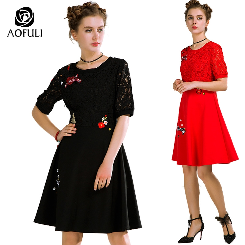 AOFULI L XXXL Women Lace Up Spring Dress Big Size Ladies Causal Short Sleeve Dress For