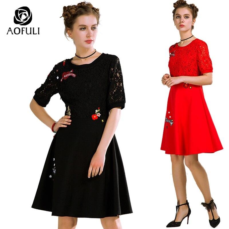 Kadın Giyim'ten Elbiseler'de AOFULI M xxxl 4xl 5xl Kadınlar Lace Up Bahar Elbise 2018 Büyük Boy Bayanlar Rahat Kısa Kollu Elbise parti/kulüp Kırmızı Siyah 1001'da  Grup 1