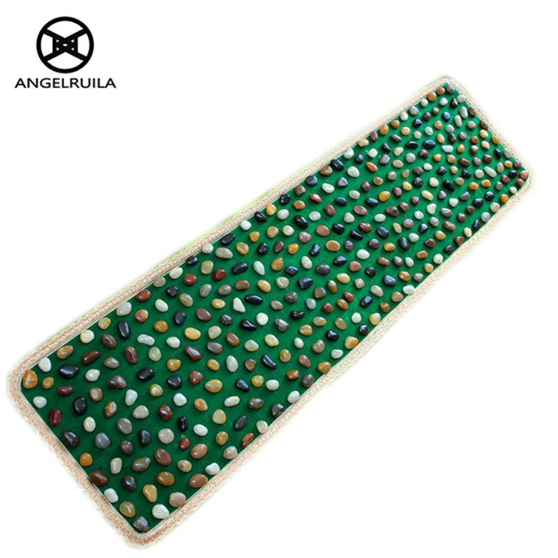 AngelRuila Foot Massage Go Blanket Pebble Cushion Natural Bloodstone Stone Foot Massage Pad Gravel Blankets Pressure Plate foot shaped foot callouses removal natural pumice stone small