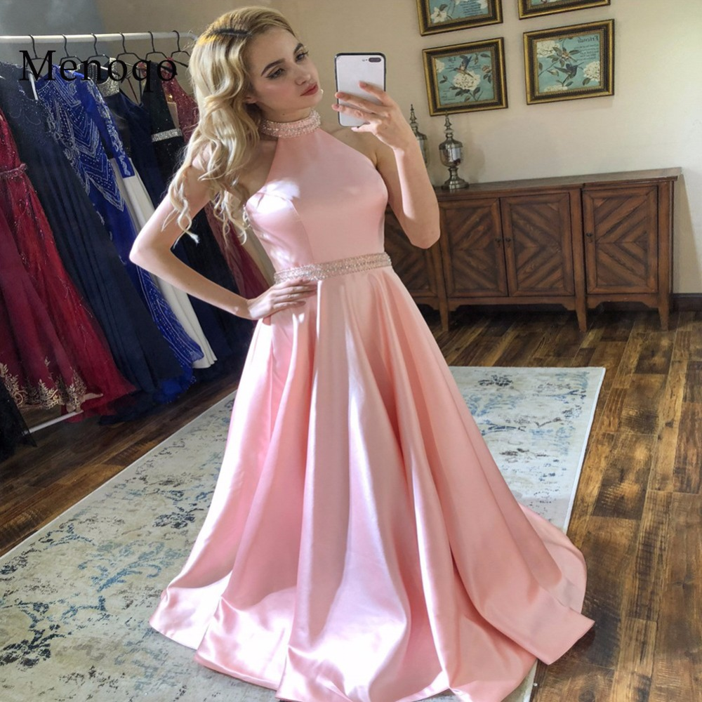Menoqo New Arrival Long   Prom     Dresses   Pink Beaded Halter Neck Sleeveless Satin Formal Evening   Dress   Party Gown Backless