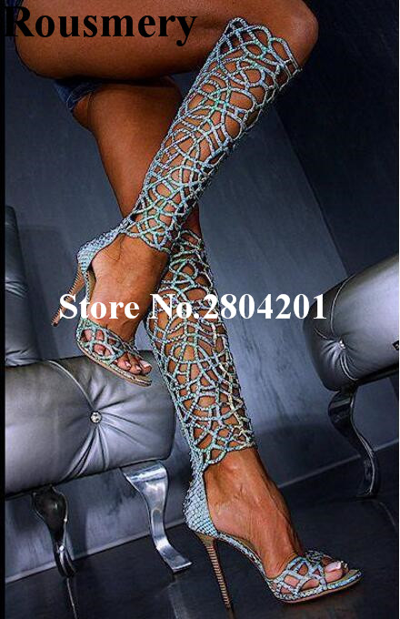 Rousmery Top Selling Booties 2018  Women Cutouts Open Toe High Heel 10 cm Blue Sexy Hollow Out Party Stage Sandals Boots WomenRousmery Top Selling Booties 2018  Women Cutouts Open Toe High Heel 10 cm Blue Sexy Hollow Out Party Stage Sandals Boots Women