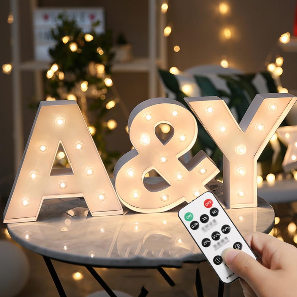 Remote Control LED Alphabet Lights Letter Night Light Indoor Wall ...