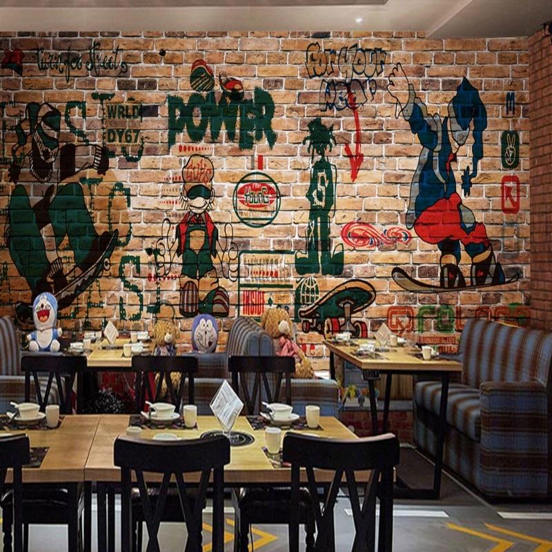3d Wallpapers For Home Interiors Photo Wallpaper Custom Hip Hop Street Graffiti Nostalgic