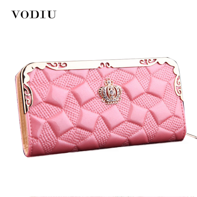 2017 Luxury Vintage Patent Leather Women Long Wallet Female Slim Clutch Wristlet Thin Purse Credit Card Holder Dollar Cuzdan Bag
