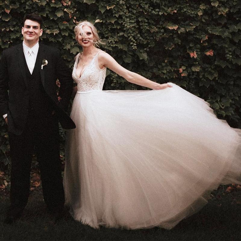 2dc71282fcb LORIE A Line Wedding Dress Plus Size 2018 Vestido De Noiva Princesa Sexy Bridal  Dresses Lace Top Boho Wedding Dress Deep V-Neck