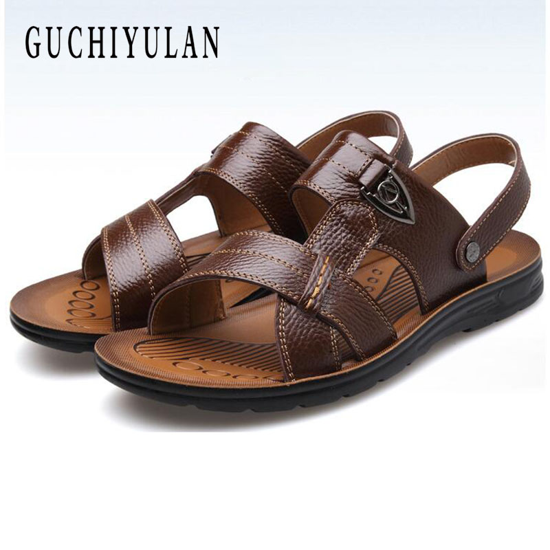 Plus Size 45 46 47 48New Men Sandals Genuine Leather Summer Breathable Shoes Men Slippers Outdoor Walking Casual Beach Sandal Sh