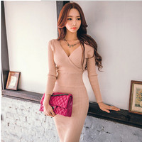 Free shipping 2017 New Autumn Women high quality elastic knitting dresses fashion Long sleeve V Neck Slim Pencil dress