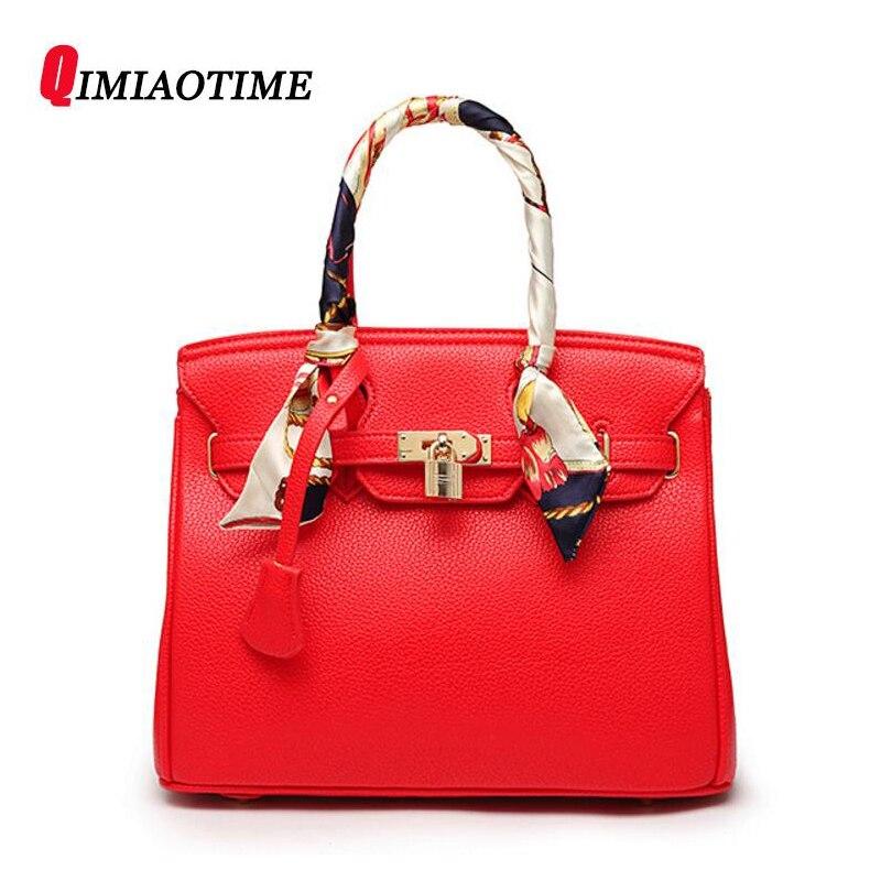 2018New тенденция сумки Высокое качество дизайнерские PU модные замок женская сумка Личи узор плеча Сумка Красный невесты женская сумка