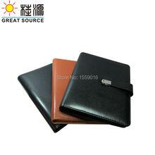 File Folder Leather A5 Binder Conference Folder Metal Lock For A5 Notebook Planner W/Organizer Bag Colorful Sticker Soft Ruler
