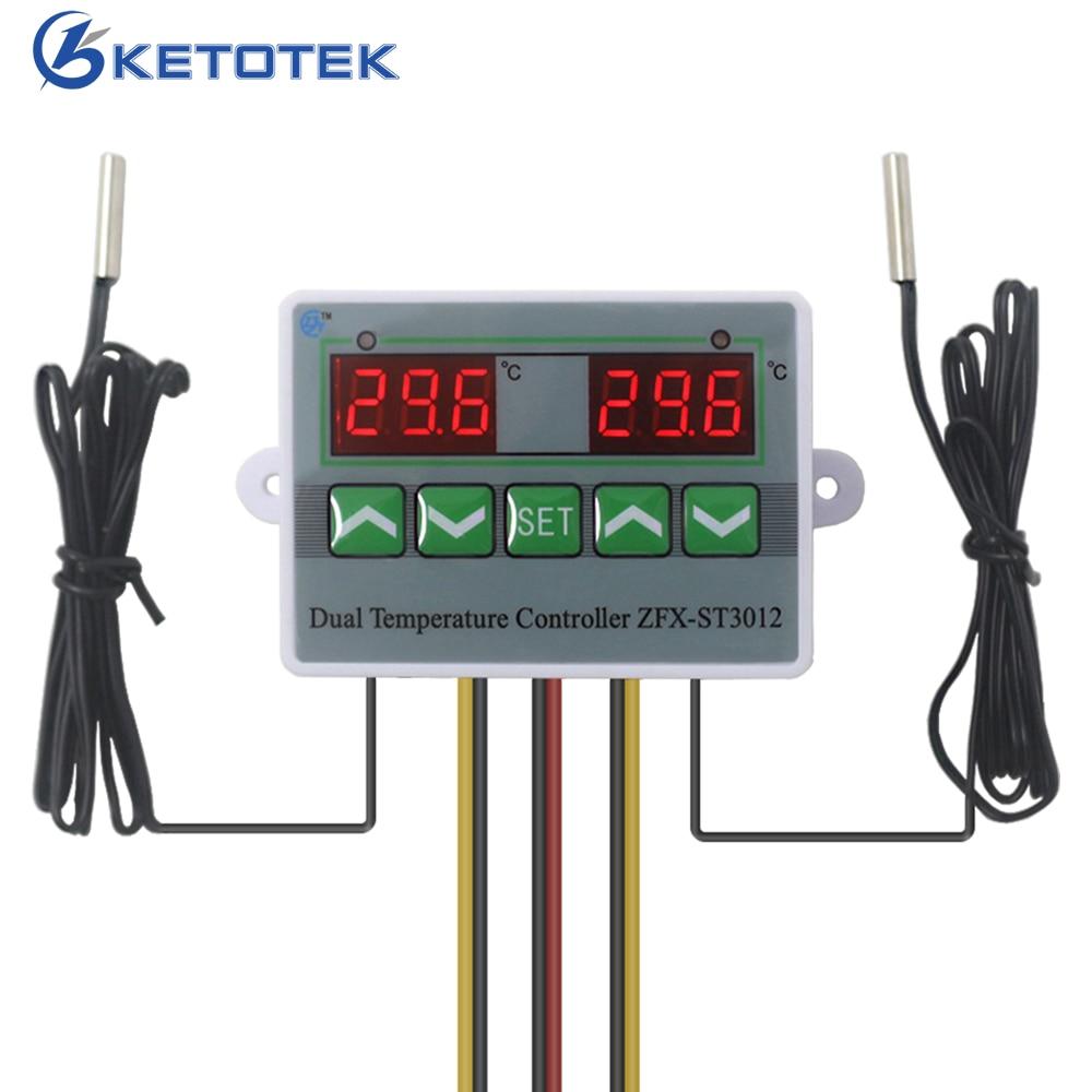 Intelligente Digitale Dual Thermostat Temperatur Controller Regler 110 v 220 v 12 v Temp. Schalter für Inkubator mit Dual Sensor