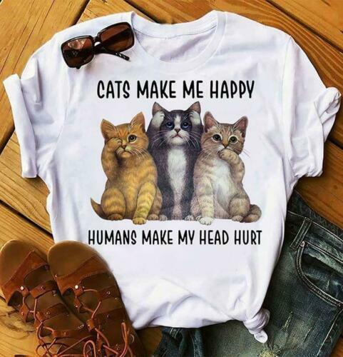 Cats Make Me Happy Humans Make My Head Hurt Men TShirt White Cotton S-6XL Cartoon T Shirt Men Unisex New Fashion Tshirt