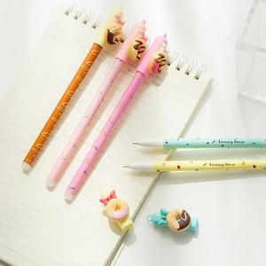 Image 5 - 30 pcs/Lot Candy color gel pen Sweet donut bowtie 0.5mm ballpoint Blue color pens Kawaii gifts School Canetas escolar FB438