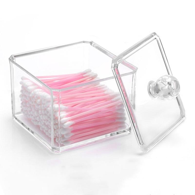 HIPSTEEN Kvadratisk Akryl Kosmetisk Organizer Bomuld Ball / Pude Holder Opbevaringsboks Makeup Case Container Single Tier Transparent