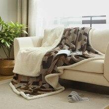 Suave Y cálida Lana Mantas Doble Capa Gruesa Felpa Tiro en Sofá Cama Avión Mantas Colchas Textil Para El Hogar Sólido 1 UNID