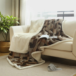 Warm Soft Fleece Blankets Double Layer Thick Plush Throw on Sofa Bed Plane Plaids Solid Bedspreads Home Textile 1PC