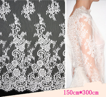 2015 New Design High Quality 100% Nylon Balck&Off White African Eyelash French Lace Fabric For Wedding Dress Bridal Gown