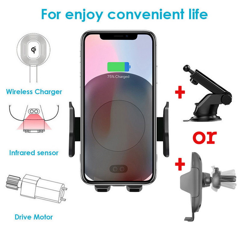 Fashion Wireless Charger Car Holder  Automatic Infrared Sensor Cover Case For Samsung S8 S9 Note 9 8 S7 For iPhone X XS 8 PlusFashion Wireless Charger Car Holder  Automatic Infrared Sensor Cover Case For Samsung S8 S9 Note 9 8 S7 For iPhone X XS 8 Plus