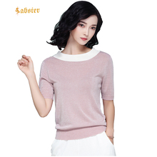 2018 Spring Summer Casual Short Sleeve Pullover Knitted Soid Color Loose Thin Women Two Wear Sweater XZ296