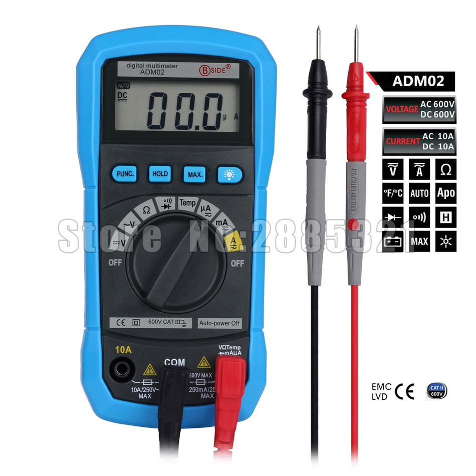 BSIDE ADM02 Digital Multimeter Handheld Auto Range Multifunction DMM DC AC Voltage Current Temperature Meters Multitester ms8226 handheld rs232 auto range lcd digital multimeter dmm capacitance frequency temperature tester meters