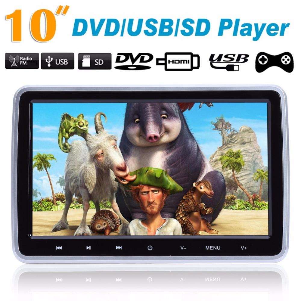 10 HD TFT LCD Car Auto Headrest Monitor DVD/USB/SD Player IR/FM Radio Build-in IR Speaker Games Function w/ Remote Controller