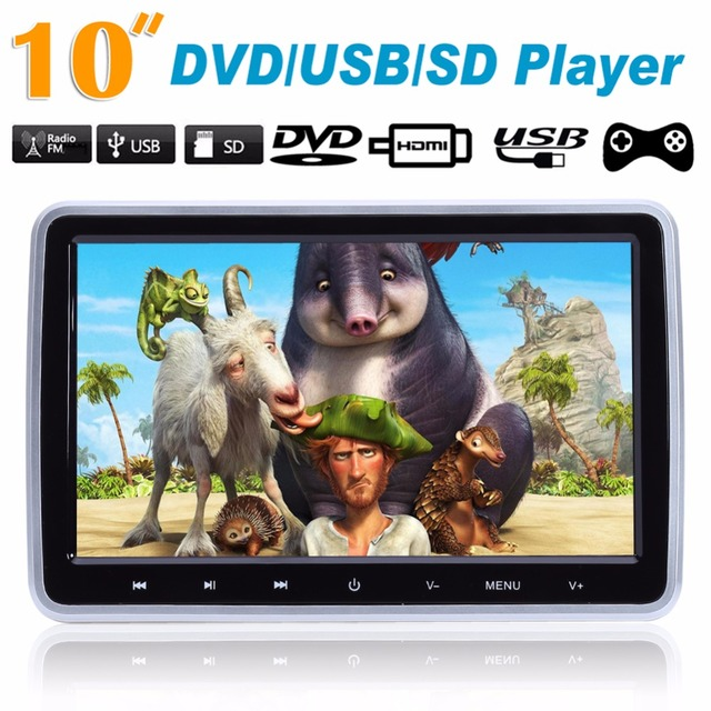"10"" HD TFT LCD Car Auto Headrest Monitor DVD/USB/SD Player IR/FM Radio Build-in IR Speaker Games Function w/ Remote Controller"