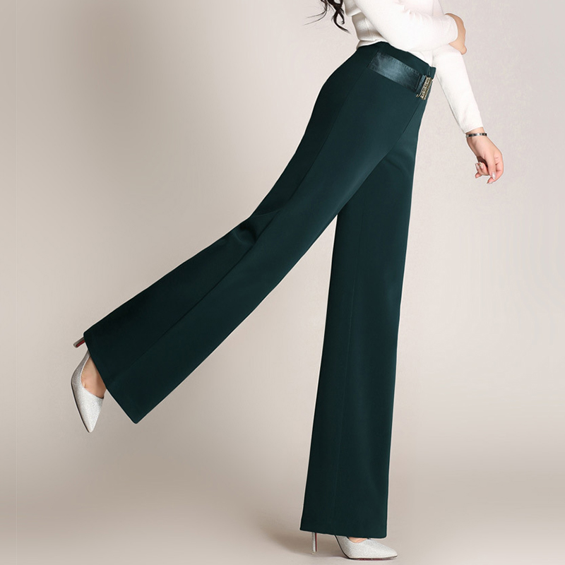 Brand High Waist Wide Leg Baggy Pants For Autumn Spring New Red Green Brown Straight Polyester Full Length Trousers M To 6XL-in Pants & Capris from Women's Clothing    2